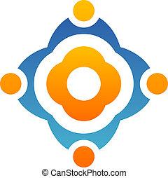 ロゴ, 抽象的, 花, チームワーク