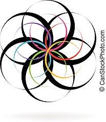 ロゴ, 抽象的, 花, 形