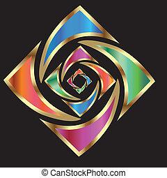 ロゴ, 抽象的, 花, 金