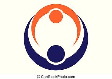 ロゴ, 抽象的, 関係, 人々