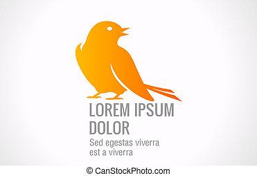 ロゴ, 抽象的, 鳥, template.