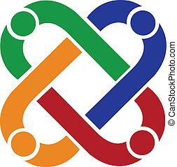 ロゴ, 接続, チームワーク, 人々