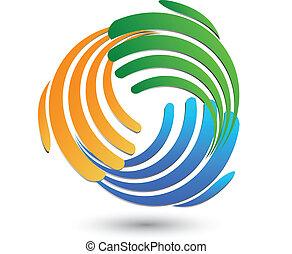 ロゴ, 接続, ビジネスの手