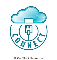 ロゴ, 接続, ベクトル, ネットワーク, 雲