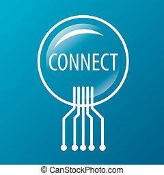 ロゴ, 接続, ベクトル, ラウンド, ネットワーク