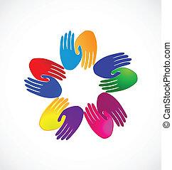 ロゴ, 握手, チームワーク, カラフルである