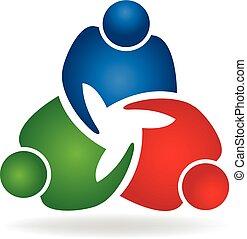 ロゴ, 握手, チームワーク, ビジネス 人々