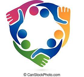 ロゴ, 握手, チームワーク, ビジネス