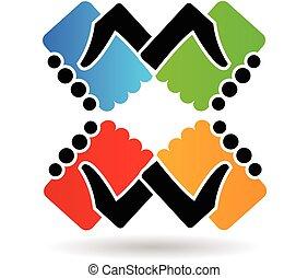 ロゴ, 握手, チームワーク, 色