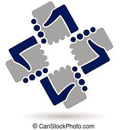 ロゴ, 握手, チームワーク