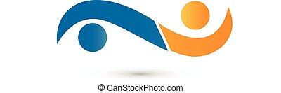 ロゴ, 握手, ビジネス 人々