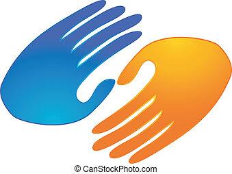 ロゴ, 握手