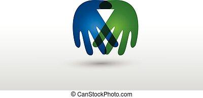 ロゴ, 握手, ベクトル, ビジネス 人々