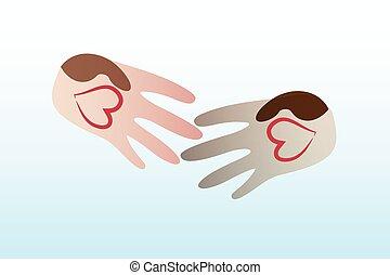 ロゴ, 握手, ベクトル, 愛, 人々