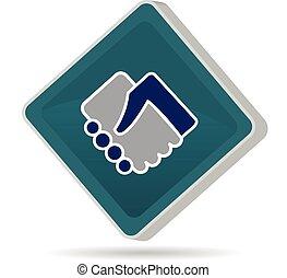 ロゴ, 握手, 人々