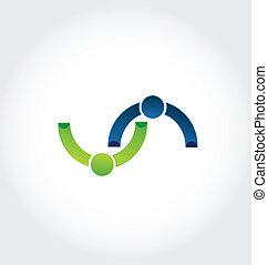 ロゴ, 握手, 友情, ビジネス