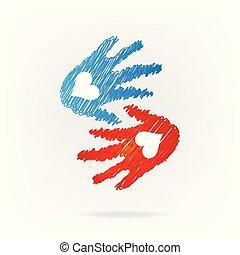 ロゴ, 握手, 愛, 手
