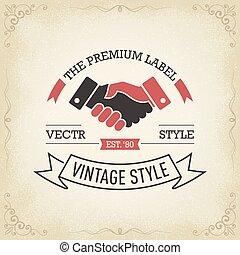 ロゴ, 握手, 概念, ビジネス