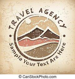 ロゴ, 旅行, グランジ
