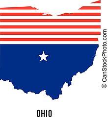 ロゴ, 旗, 地図, オハイオ州