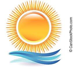 ロゴ, 日没 浜, ベクトル, アイコン