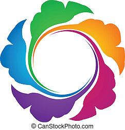 ロゴ, 木, のまわり, leafs