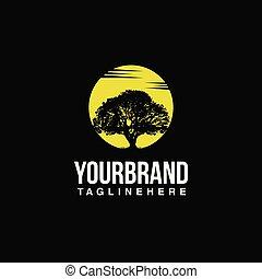 ロゴ, 木, 太陽