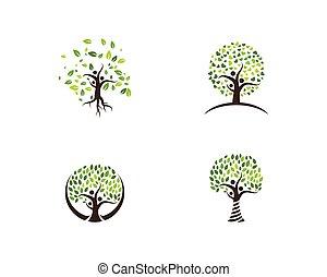 ロゴ, 木, 家族, テンプレート