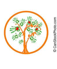 ロゴ, 木。, 緑