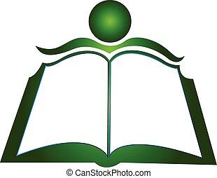 ロゴ, 本, そして, 学生, ベクトル, アイコン