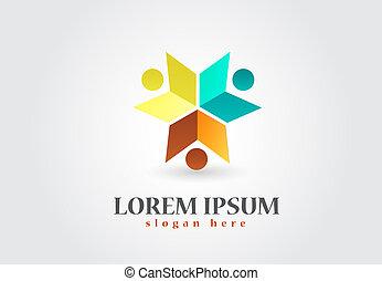 ロゴ, 本, チームワーク, 教育
