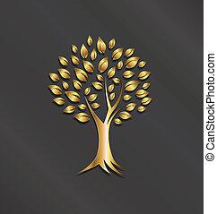 ロゴ, 植物, 木, イメージ, 金
