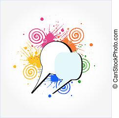 ロゴ, 概念, グランジ, 有色人種, 話
