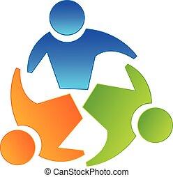 ロゴ, 概念, チームワーク, パートナー