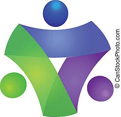 ロゴ, 概念, チームワーク, ビジネス