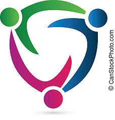 ロゴ, 概念, チームワーク, リーダー