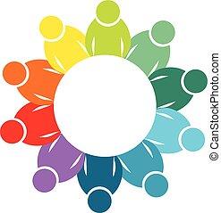 ロゴ, 概念, チームワーク, 共同体