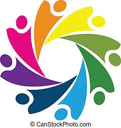 ロゴ, 概念, チームワーク, 協力