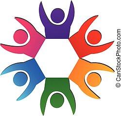 ロゴ, 概念, チームワーク, 幸せ