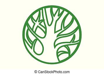 ロゴ, 概念, 木, 緑