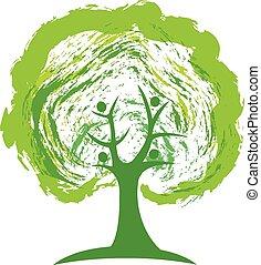 ロゴ, 概念, 緑の木, 人々
