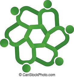 ロゴ, 概念, 緑, 人々, チームワーク