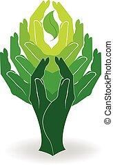 ロゴ, 概念, 緑, 手