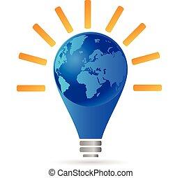 ロゴ, 概念, 考え, 電球, ライト