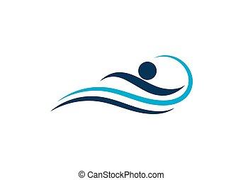 ロゴ, 水泳, ベクトル