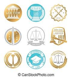 ロゴ, 法律, セット, オフィス