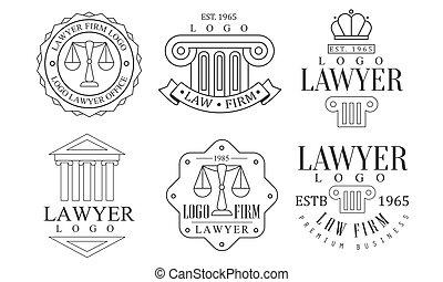ロゴ, 法律, ベクトル, レトロ, 弁護士, イラスト, セット, ロゴ, オフィス, 優れた, ビジネス, ラベル, 会社