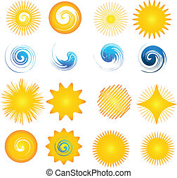 ロゴ, 波, アイコン, コレクション, 太陽