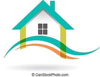 ロゴ, 波, 家