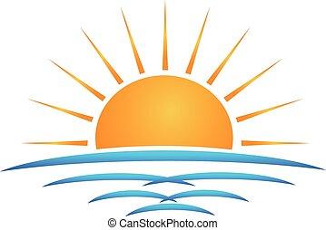 ロゴ, 波, 浜, 太陽